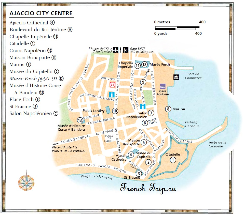 Карта центра Аяччо с достопримечательностями