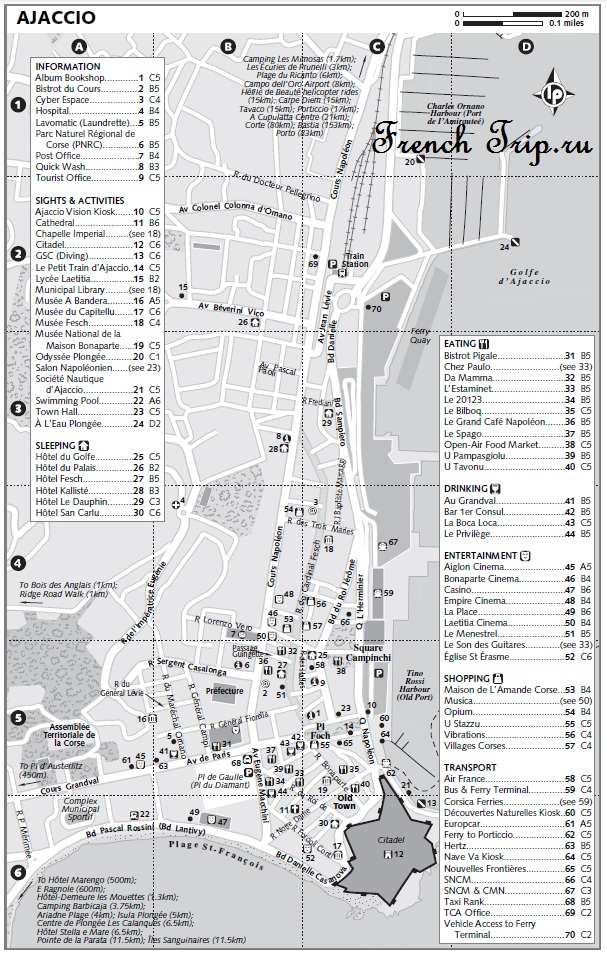 Карта Аяччо с достопримечательностями