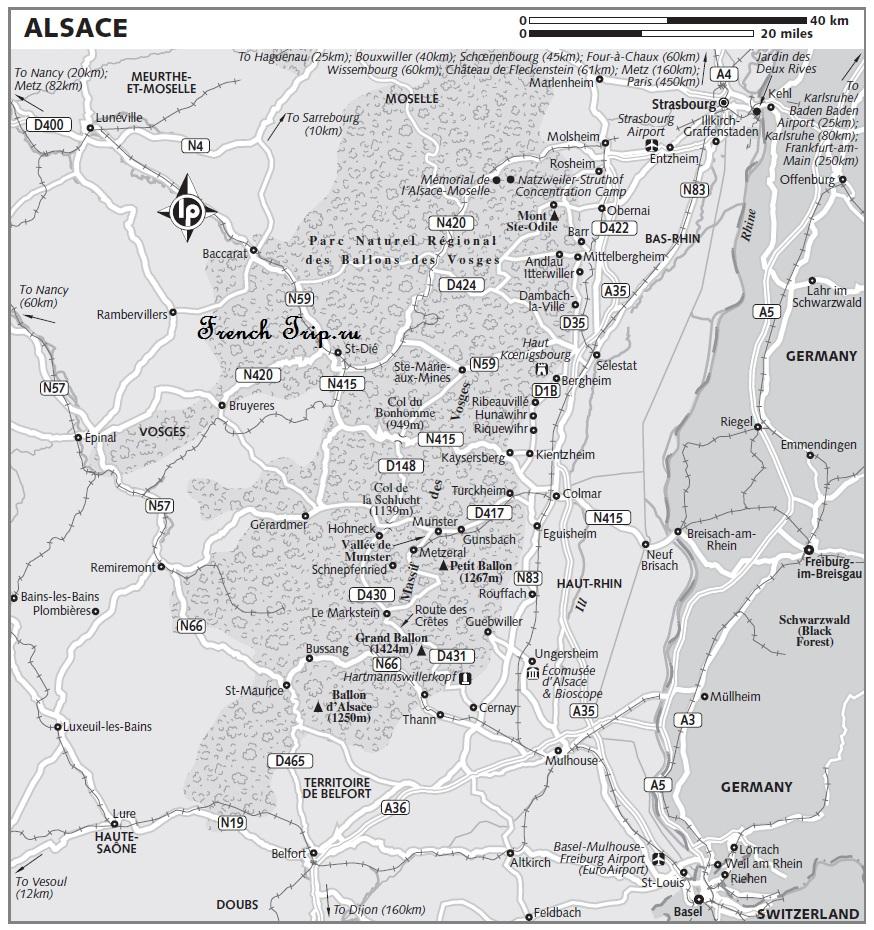 Карта Alsace с отмеченными достопримечательностями