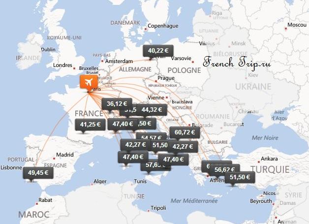 Карта полетов лоукостера Easy Jet из Парижа - Сэкономить во Франции