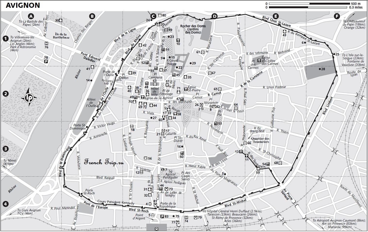 Карты Авиньона (Avignon) с отмеченными достопримечательностями: что посмотреть в Авиньоне, достопримечательности Авиньона на карте. Путеводитель по Авиньону, Avignon map, Avignon sights on map, Provence, France, whet to see in Avignon, Avignon tourist map, достопримечательности Прванса, карта Авиньона, карта Авиньона с достопримечательносями