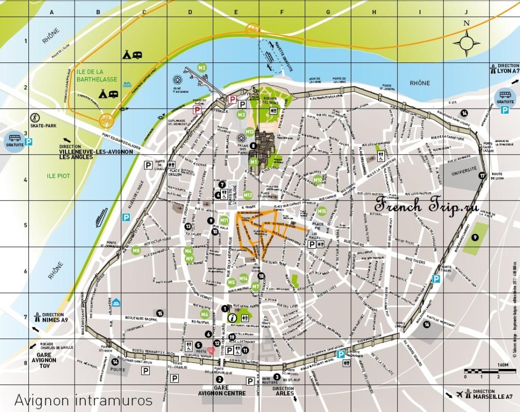 Франция, Прованс, Карты Авиньона (Avignon) с отмеченными достопримечательностями: что посмотреть в Авиньоне, достопримечательности Авиньона на карте. Путеводитель по Авиньону, Avignon map, Avignon sights on map, Provence, France, whet to see in Avignon, Avignon tourist map, достопримечательности Прванса, карта Авиньона, карта Авиньона с достопримечательносями