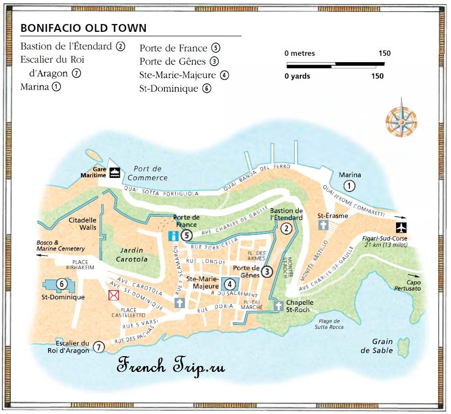 Карта Бонифачо с достопримечательностями
