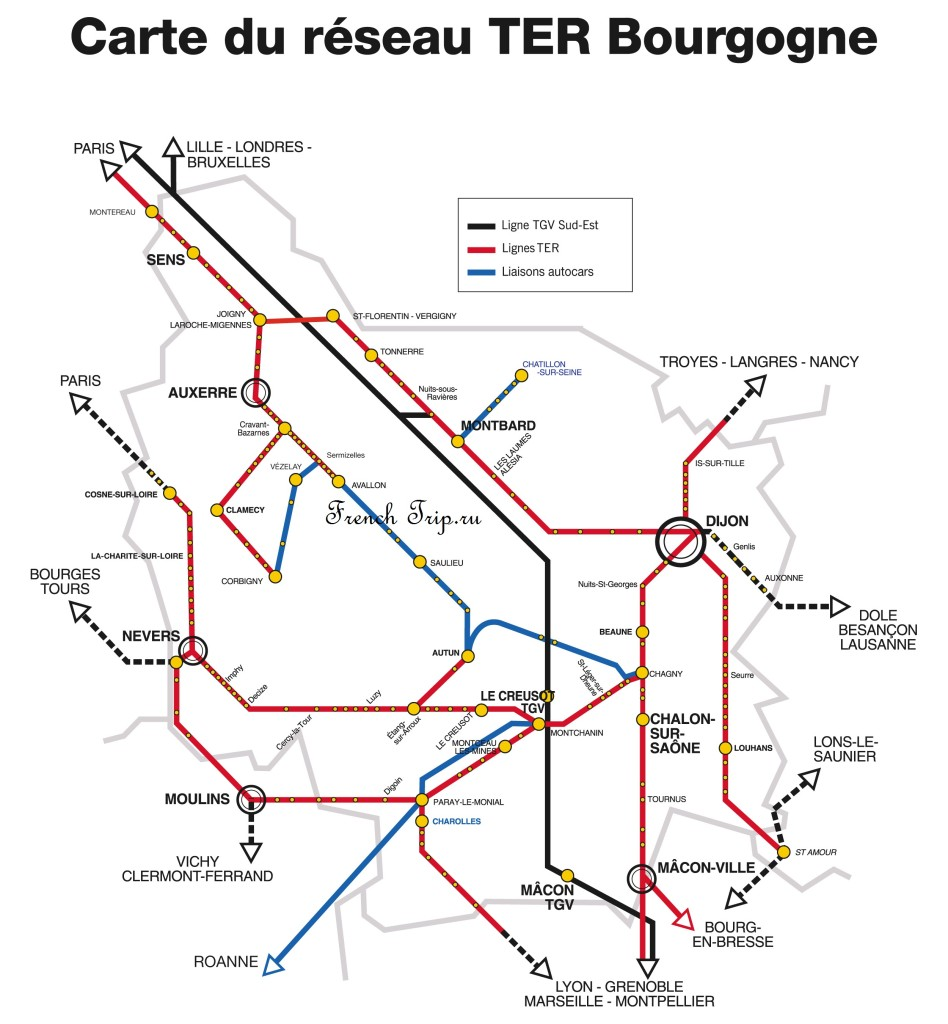 Схема ж/д маршрутов по Бургундии: