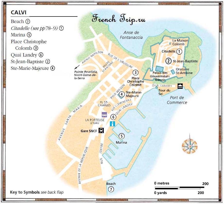 Карта Кальви с достопримечательностями - Calvi, Корсика, путеводитель