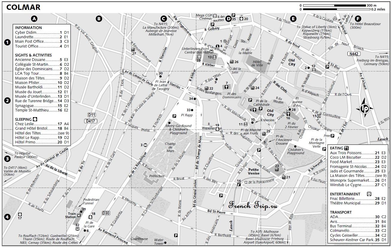 Карта Кольмара с достопримечательностями, ресторанами и отелями
