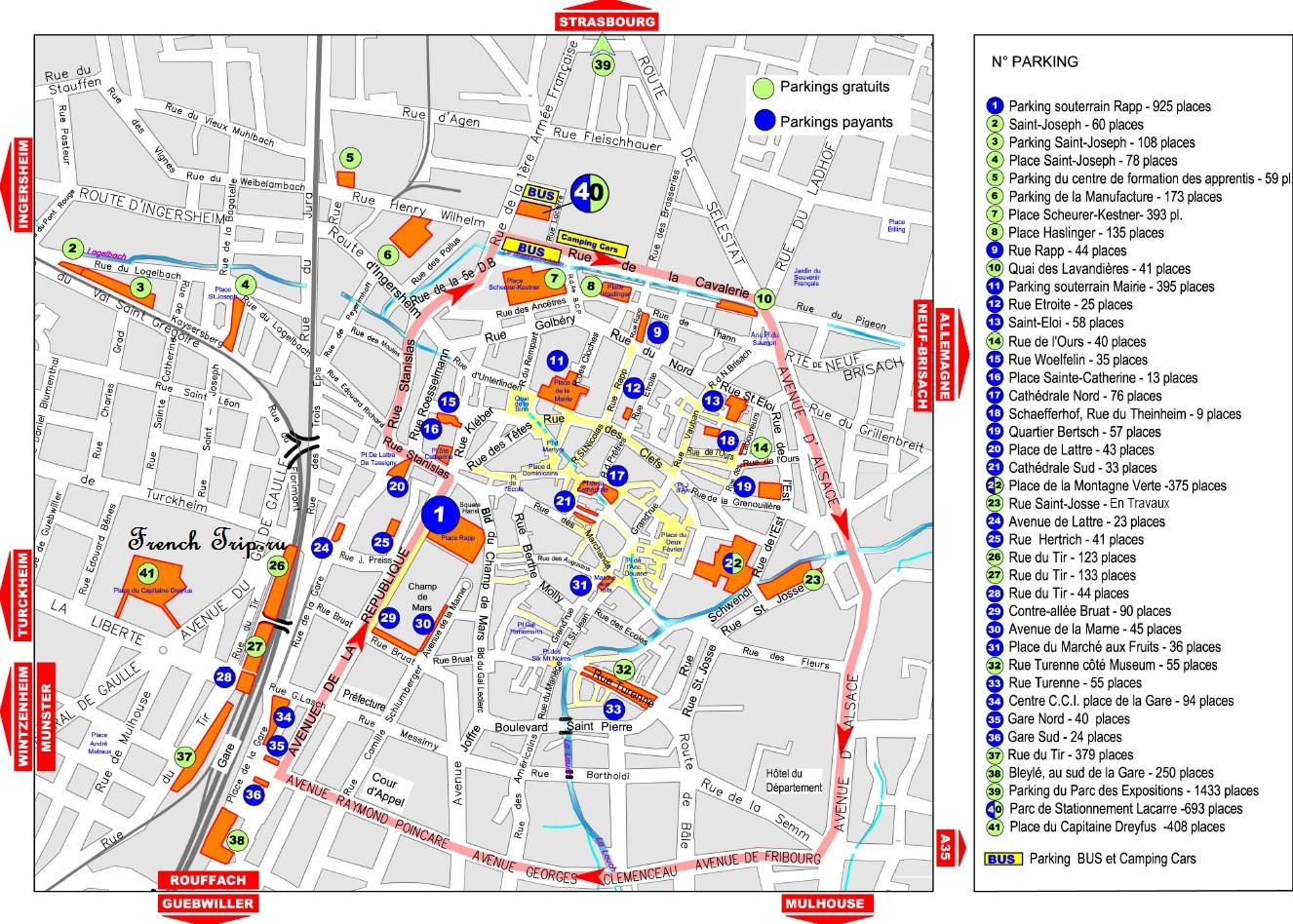 Карта с парковками в Кольмаре, платные и бесплатные парковки в Кольмаре