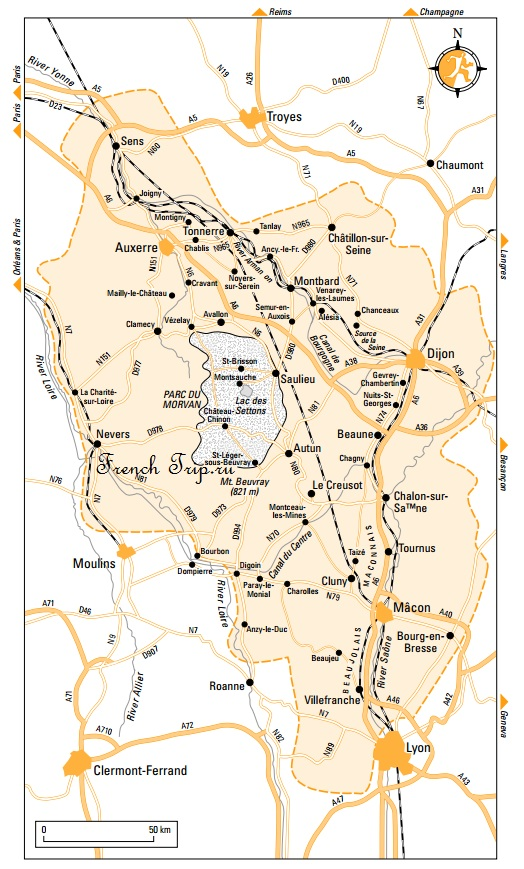 Карта Бургундии, схема поездов Бургундия: путеводитель по Бургундии, достопримечательности, города