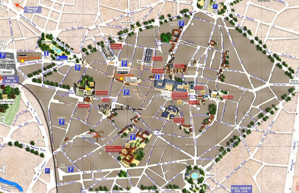 Карта Дижона с отмеченными достопримечательностями