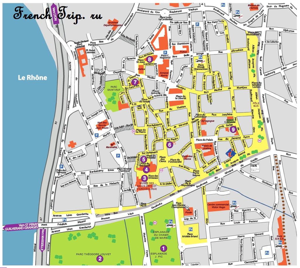 Карта Валенса, достопримечательности Валенса, гид по Валенсу