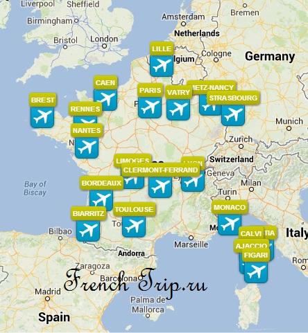 Рейсы из аэропорта Ниццы во Францию: