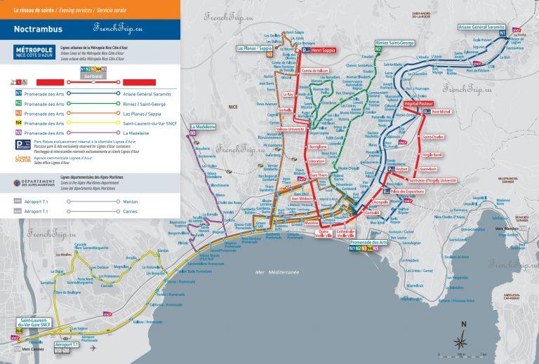 Транспорт в Ницце: схема ночного транспорта в Ницце