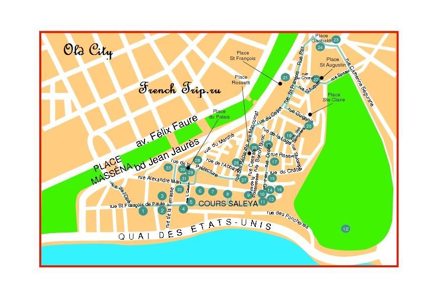 Туристический маршрут по Ницце с картой, что посмотреть в Ницце. Достопримечательности Ниццы, путеводитель по городу. Ницца, Лазурный берег Франции.