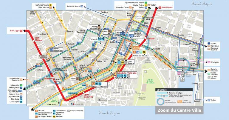 Схема транспорта в центре Ниццы