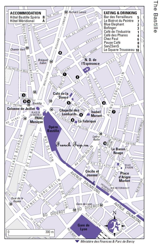 Карта Парижа в квартале Бастилии с достопримечательностями, скачать бесплатно