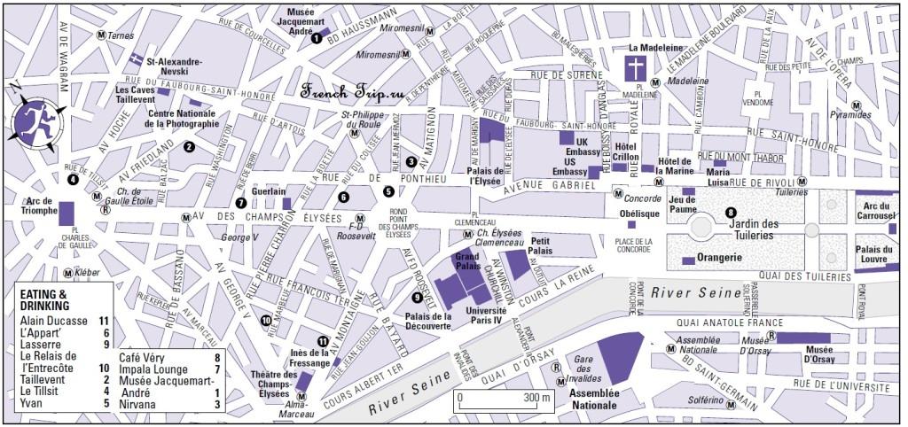 Карта Елисейских полей в Париже с достопримечательностями, скачать бесплатно