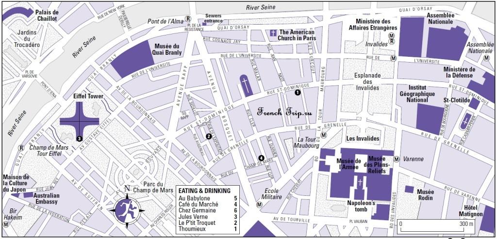Карта квартала Вокруг Эйфелевой башни в Париже с достопримечательностями, скачать бесплатно