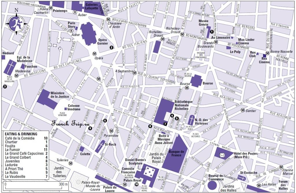 Карта квартала Grand Boulevards в Париже с достопримечательностями, скачать бесплатно