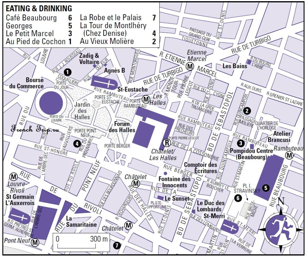 Карта квартала Les Halles в Париже с достопримечательностями, скачать бесплатно
