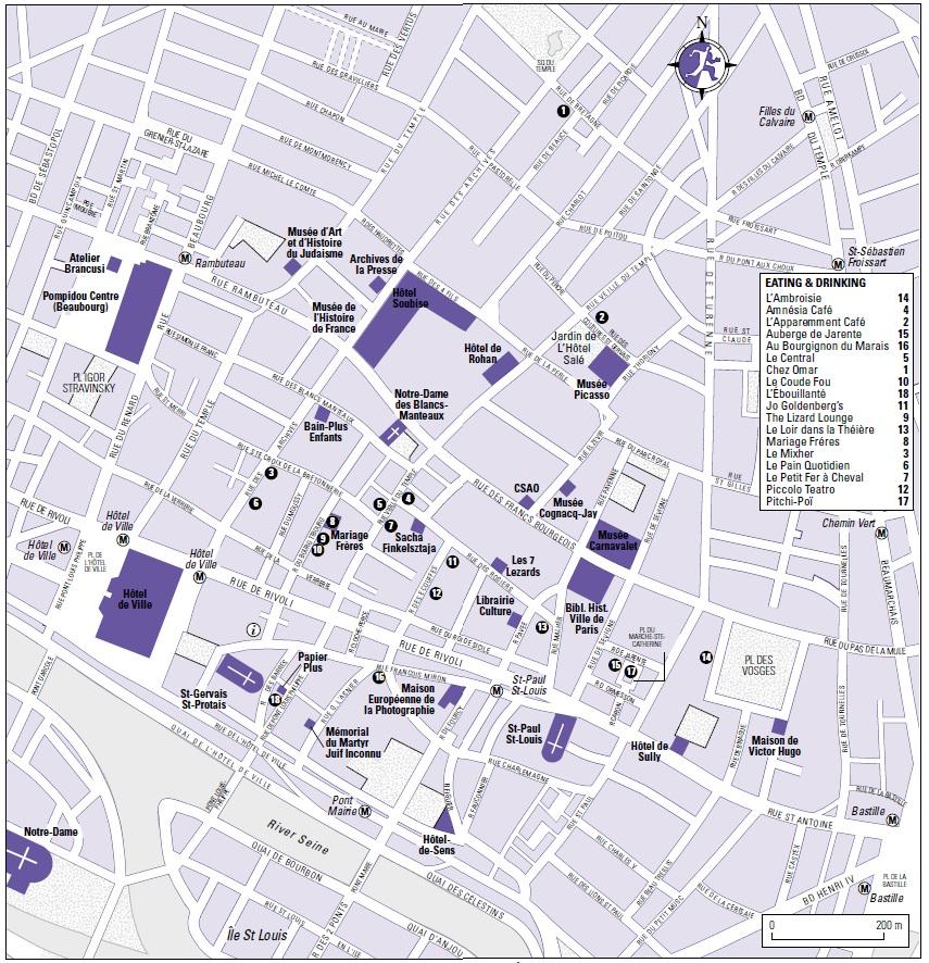 Карта квартала морэ в париже с