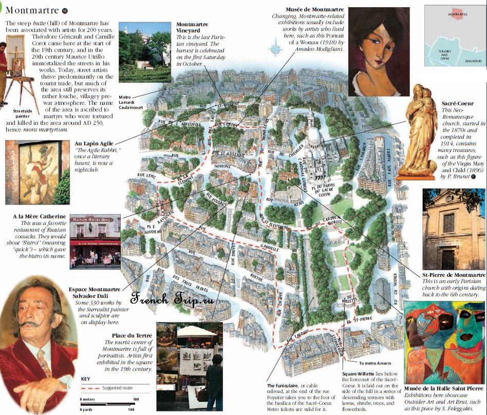 Туристический маршрут по Монмартру в Париже: карта, достопримечательности