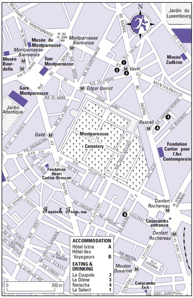 Карта Парижа с достопримечательностями: Монпарнас
