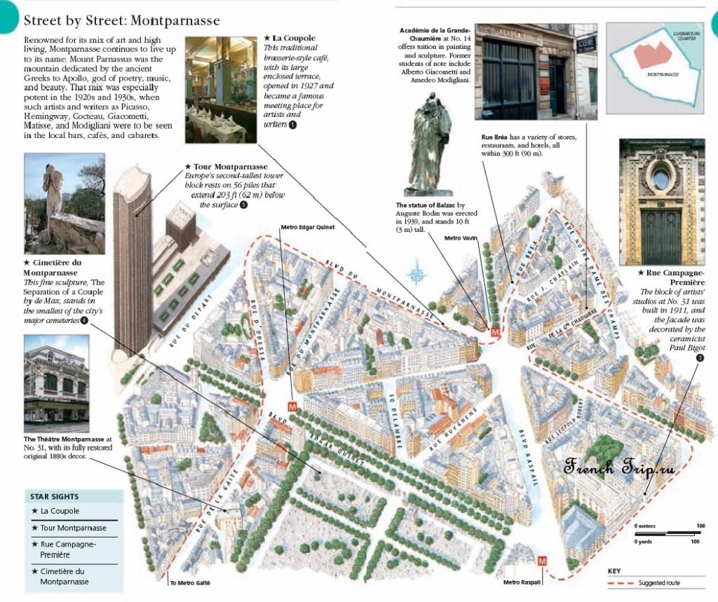 Туристический маршрут по Монпарнасу в Париже: карта, достопримечательности