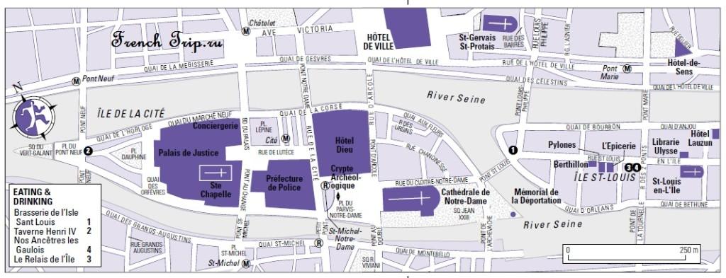 Карта островов Сены в Париже с достопримечательностями