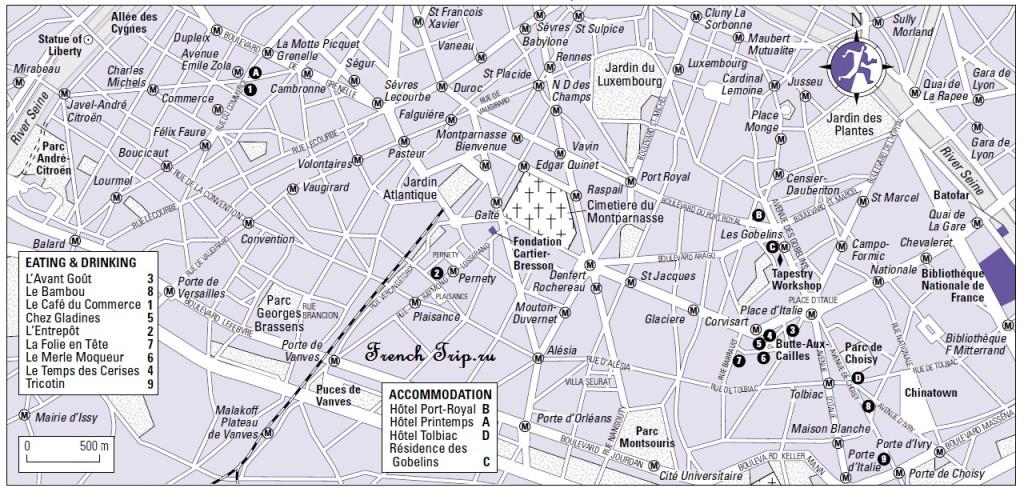 Карта юга Парижа с достопримечательностями, скачать бесплатно