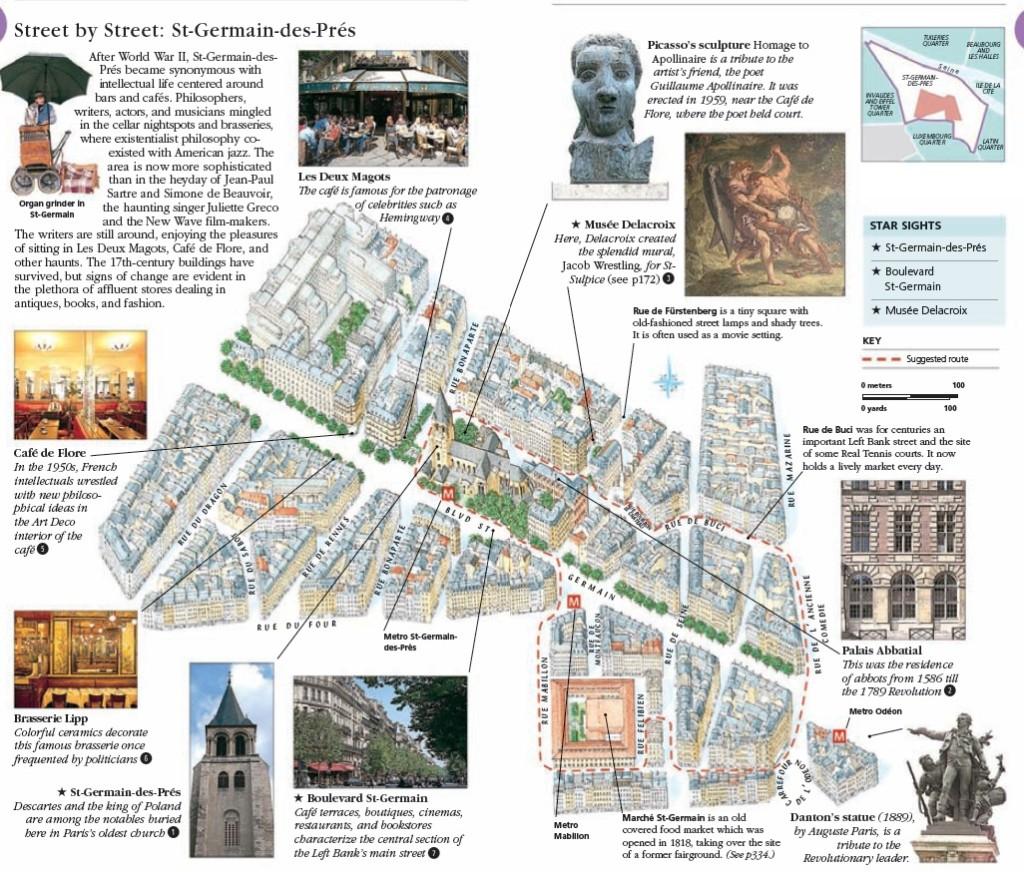 Туристический маршрут по кварталу Сен Жермэн в Париже: карта, достопримечательности