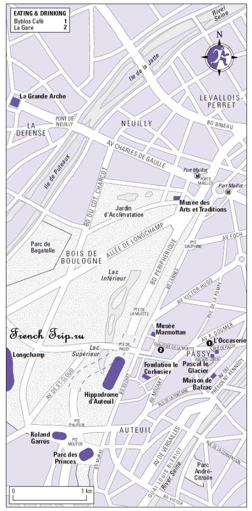 Карта запада Парижа с достопримечательностями от FrenchTrip.ru