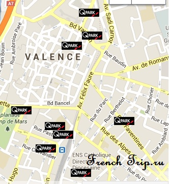 На машине в Валанс (Valence): как проехать, схема проезда, стоимость платных дорог до Валанса, парковки в Валансе, стоимость парковок, расстояние и время в пути до Валанса, бесплатные парковки в Валансе, где недорого припарковать машину в Валансе, бесплатные парковки Valence France Rhone-Alpes how to get in by car arrival tolls price parking free where to part free parking