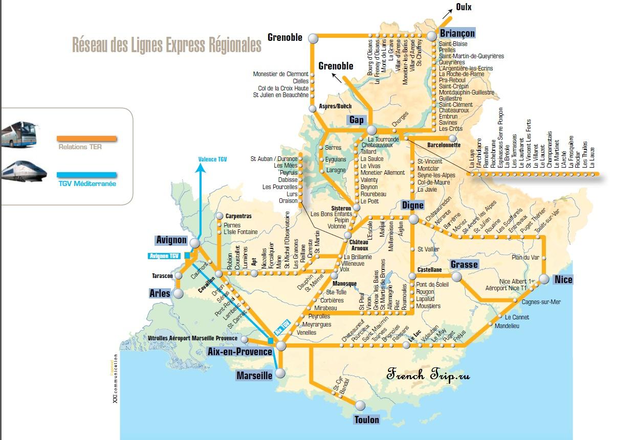 Схема региональных и скорых поездов по Провансу - Из Ниццы на поезде по региону