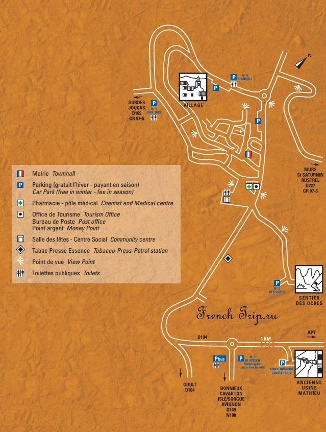 Карта Русильона с отмеченными достопримечательностями
