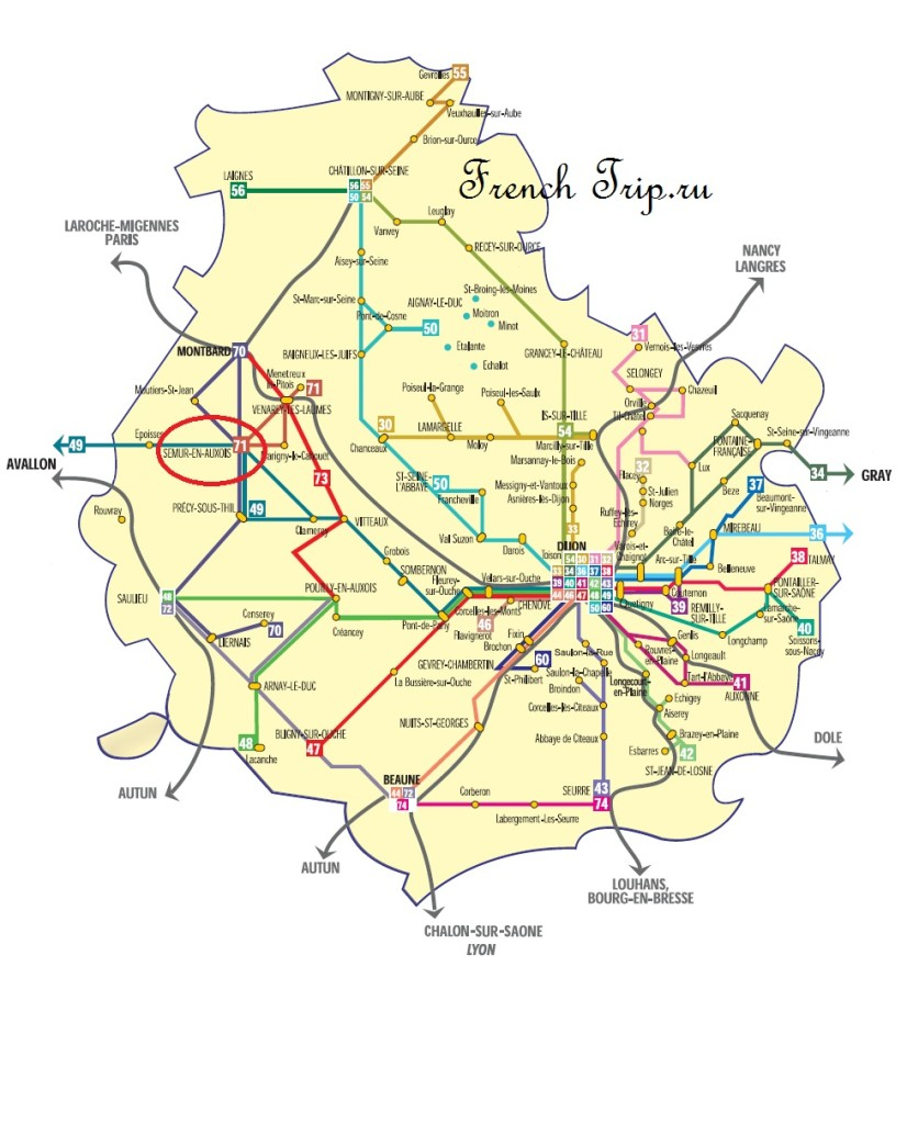 Схема автобусных маршрутов Transco по Бургундии: