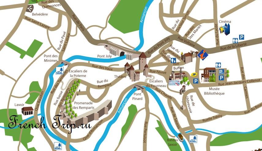 Достопримечательности Семур-ан-Осуа - Карта Semur-en-Auxois с отмеченными достопримечательностями