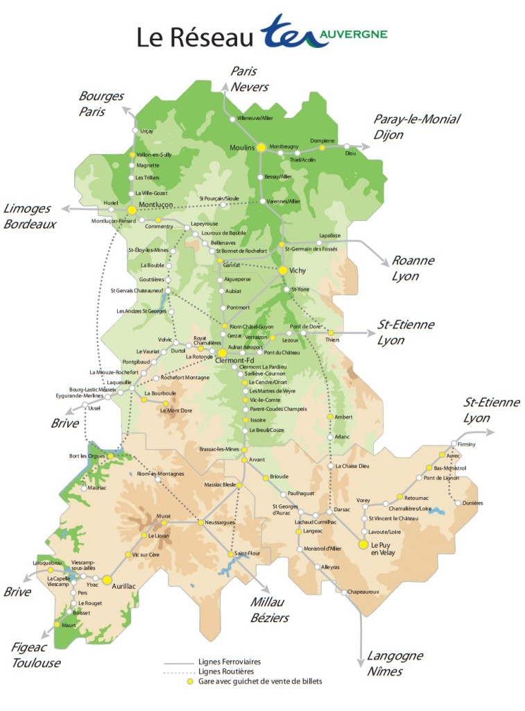 Поезда по региону Овернь: схема маршрутов поездов по региону Овернь