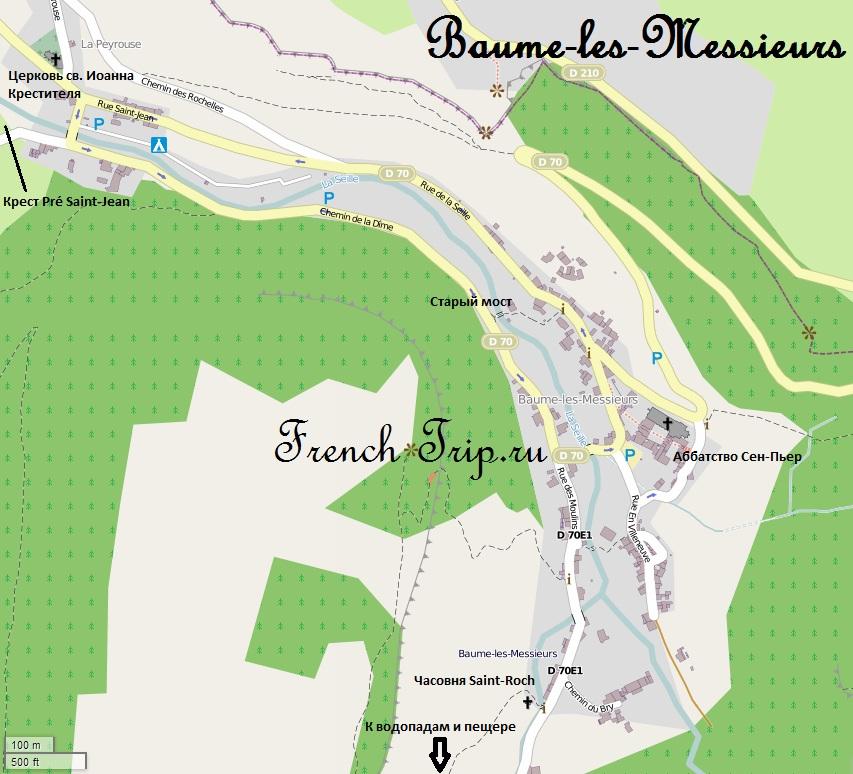 Карта Baume-les-Messieurs с отмеченными достопримечательностями и парковками