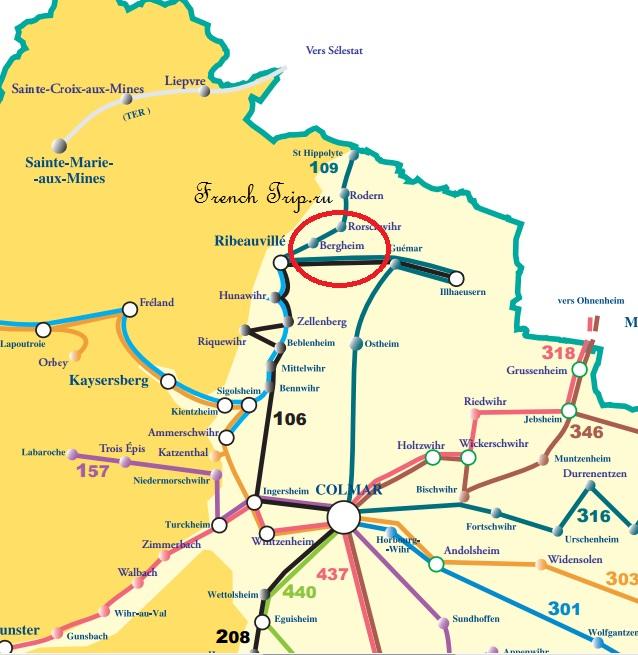 Схема автобусных маршрутов по Эльзасу из Кольмара в Бергхайм - Bergheim (Бергхайм), Эльзас, Франция - достопримечательности, туристический маршрут, карта, история, описание, что посмотреть вокруг Кольмара, Винная дорога