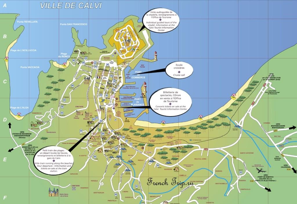 Calvi (Кальви) - карта с отмеченными достопримечательностями - путеводитель по городам Корсики