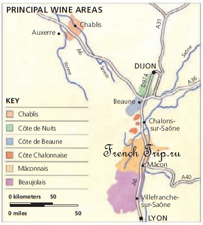Винодельческие регионы Центральной Франции, Бургундии и Роны-Альп: карта Бургундия: путеводитель по Бургундии, достопримечательности, города