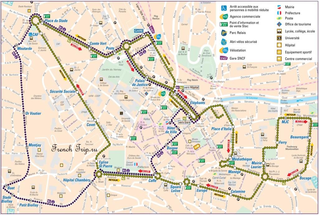 Транспорт Шамбери: Маршруты шаттл-автобусов N1 и N2 по Шамбери