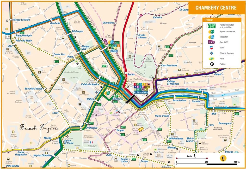 Транспорт Шамбери: Схема автобусных маршрутов в центре Шамбери