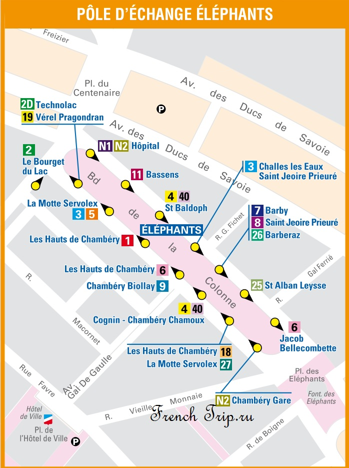 Транспорт Шамбери: Расположение остановок автобусов на площади с фонтаном со слонами в Шамбери