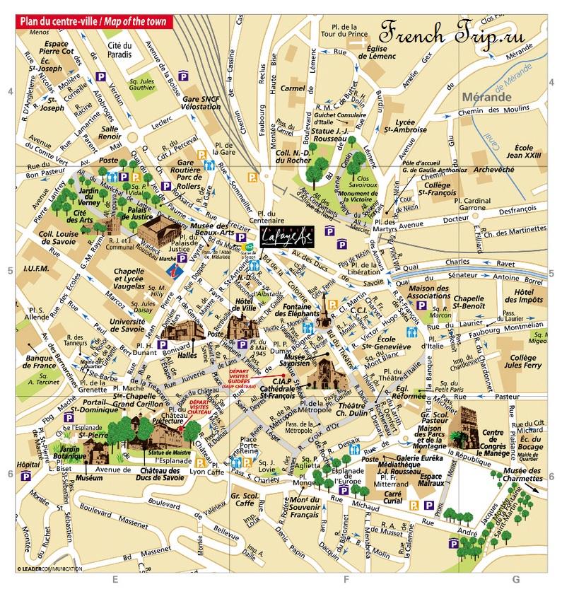 Карта Шамбери с отмеченными достопримечательностями - Chambery map with marked sights