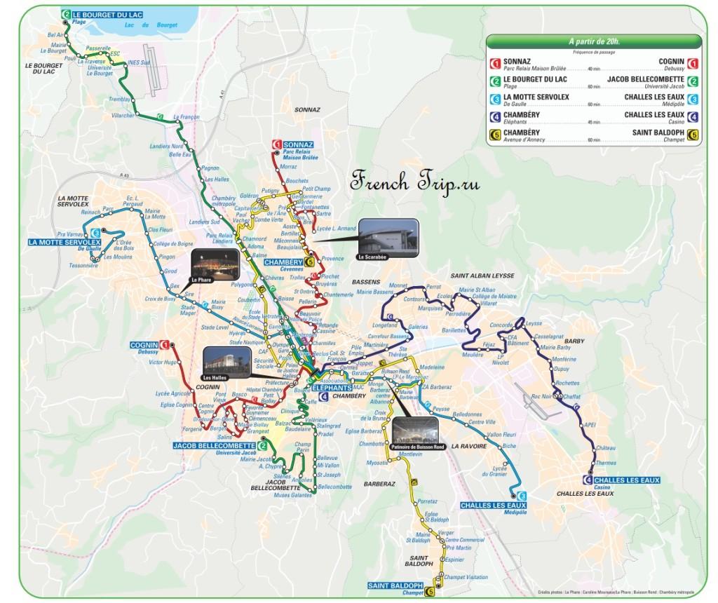 Транспорт Шамбери: Маршруты вечерних автобусов Noctambus по Шамбери