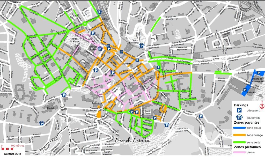 Парковки в Шамбери: Карта с расположением парковок и паркингов в Шамбери