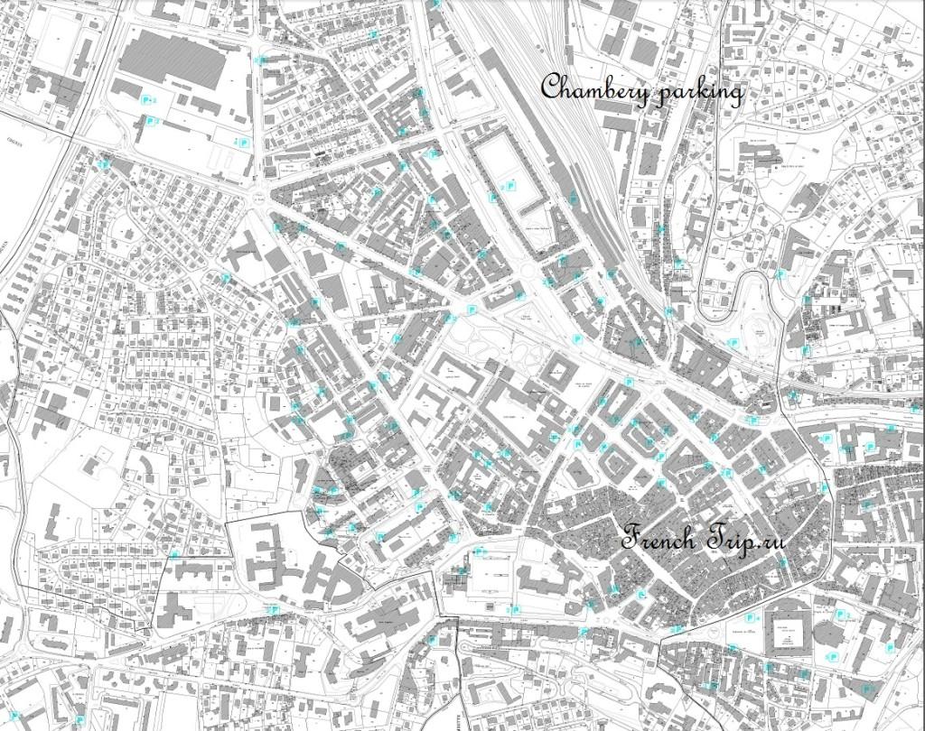 Парковки в центре Шамбери: карта с отмеченными парковками