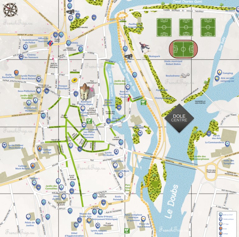 Карта города Доль, Франция, с отмеченными достопримечательностями - путеводитель по Долю
