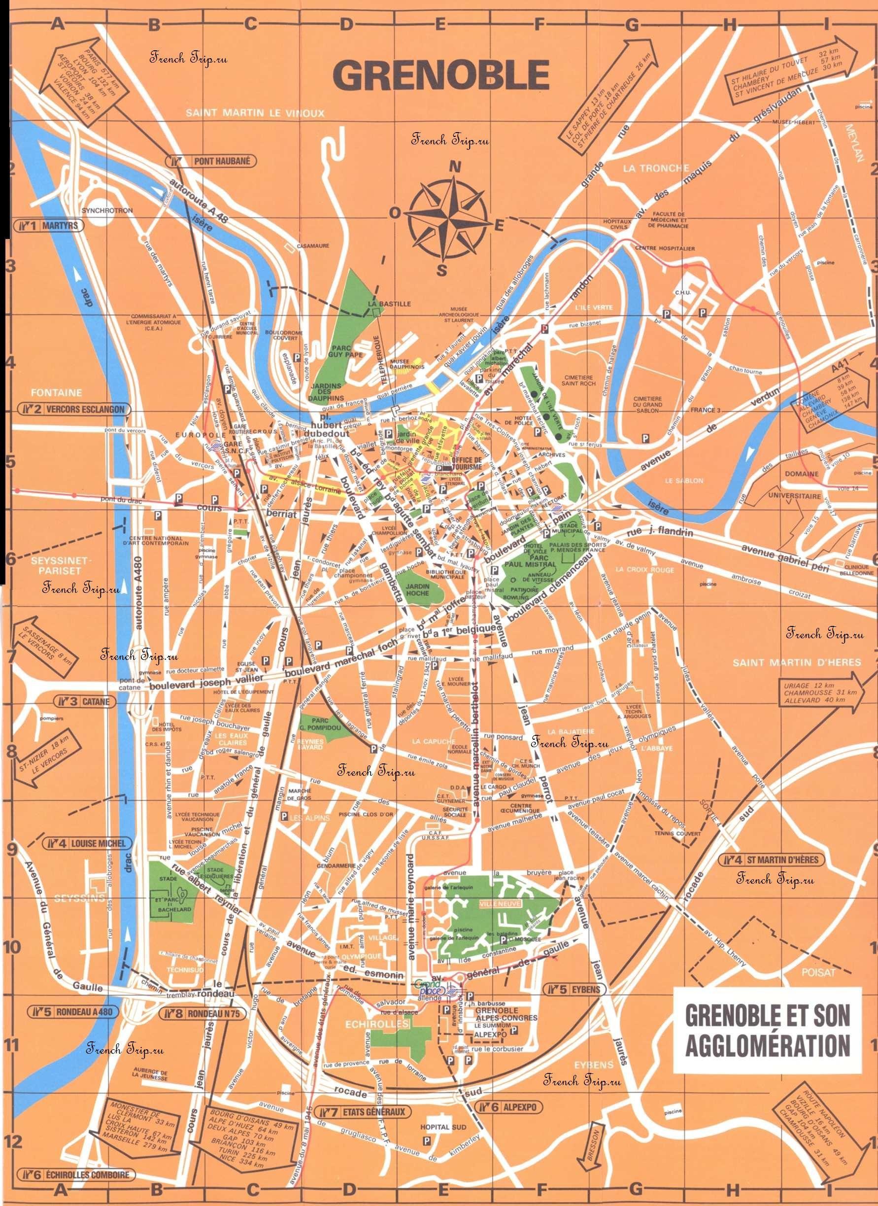Карта центра Гренобля с достопримечательностями - путеводитель по Греноблю, туристический маршрут по Греноблю
